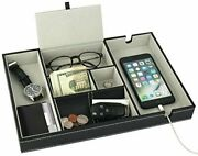 Valet Tray Nightstand Organizer Top Holders For Wallet Phone Keys Jewelry Money