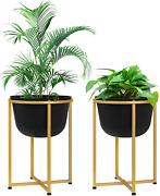Large Floor Standing Planters, 13 Inch Planter Pots With Gold Stands Set For