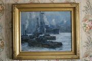 Fine Antique Parker Newton Staten Island Harbor Ny Oil Painting Listed American