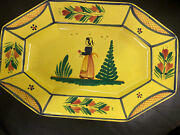 French Quimper Pottery Platter Soleil Yellow Breton Woman Octagon Signed Chip