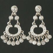 Solid 14k White Gold And 2.06 Ctw Diamond Link Drop Dangle Estate Earrings