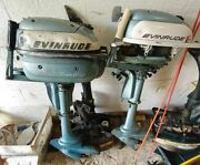 Evinrude Lightwin 3 Hp Outboard Motor Vintage 50s / 60s Lot Of 2 Engines 4 Parts