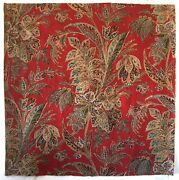 Antique Beautiful Rare 19th C. Cotton French Exotic Paisley Leaf Fabric 3011