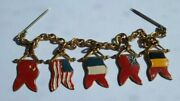Wwi / Ww1 Souvenir Chain With Allied Countries Flags / Medals