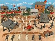 Wwii Battle Of The Bulge Playset 2 - Town Defense - 54mm Plastic Toy Soldiers