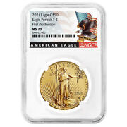 2021 50 Type 2 American Gold Eagle Ngc Ms70 1 Oz First Production Black Label