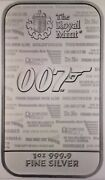 Gorgeous Royal Mint James Bond 007 No Time To Die 1 Ounce Fine Silver Bar Sealed