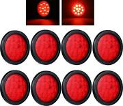 4inch Round Red Led Trailer Tail Lights Pack Of 8 Grommet Plug Included For