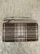 Coach Double Zip Wallet In Signature Canvas With Hunting Fishing Plaid Print