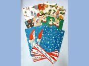 Lot Vintage Unusedfactory Folded10 Sheets Wrapping Paper And 7 Paper Borders