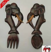 Hand Made Carved Elephant Head Spoon And Fork Wall Hanging Wooden Art Home Decor