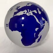 Chuck Boux Handcrafted Art Glass Paperweight World Globe Earth Signed