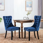 2pcs/set Velvet Dining Chair With Ring Knocker High Back Kitchen Chairs Blue