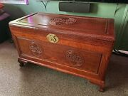 Antique Wooden Oriental Hope Chest, Cedar Lined, Brass Hardware, Footed