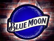 Blue Moon Beer Bar Gift 2d Led Neon Sign Light Lamp Cute Super Bright Man Cave
