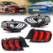 Customized Full Led Headlights+red Tail Lights For 2018-2020 Ford Mustang