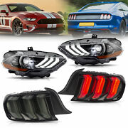 Customized Full Led Headlights + Smoked Tail Lights For 2018-2020 Ford Mustang