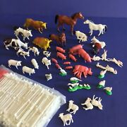 Vintage Made In Hong Kong 43 Plastic Miniature Farm Animals + Fencing