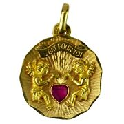 French 18k Yellow Gold Ruby My Heart Beats For You Cupid Love Charm Pendant