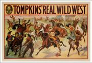 Vintage Tompkins Real Wild West Show Donaldson Litho Cowboys And Girls Horses