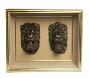 Two Antique Carved Lion Mask Heads 17th/18th Century In Glass Fronted Case