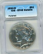 1934s Peace Dollar Icg Ef45 Extremely Fine Detail Bright White Looks Nicer