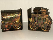 Vintage Copper Covered Wagon And Wells Fargo Stage Coach Western Book Ends
