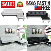 L-shaped Sofa Bed Artificial Leather Chaise Lounge Couch Seat Black/white