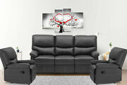 Recliner Sofa Leather Living Room 3 Seater Home Theater Seating