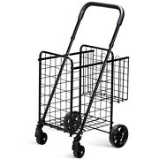Folding Shopping Cart Dolly Basket Rolling Utility Trolley Adjustable Handle New