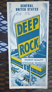 1956 Central United States Road Map Deep Rock Oil Gas Route 66