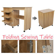Brown Folding Sewing Craft Table Shelves Storage Cabinet Furniture Wheel Casters