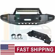 Steel Front Bumper Guard W/ Led Light Winch Plate For 15-17 Chevy Silverado 2500
