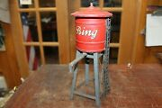 Vtage Prewar German Bing Tinplate Water Tower And Spout Red And Black 9.5 Tall
