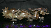 14 Rare Old Chinese Hetian White Jade Carving Palace Dragon Beast Luck Statue