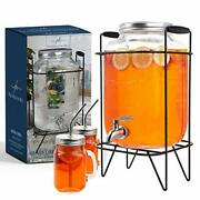2 Gallon Glass Drink Dispenser With Stand And 2 Mason Jars And Stainless Steel