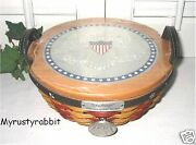 Longaberger 2005 Inaugural Basket Set And Lid - Liner - Protector - Tie-on New