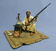 Rare Antique Franz Bergman Cold Painted Bronze Arab W/rifle And Hooka Marked Exc