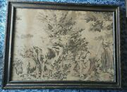 Antique Tapestry Cattle Nature Woman Child Farmer Wooden Frame