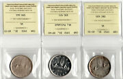 Canada 1952 Silver Dollar Lot Of 3 Coins Iccs Certified Au Ef