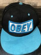 Vintage Obey Turquoise And Black Snapback Hat Size Large