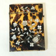 Antique Calling Card Case Victorian Faux-tortoise Shell Mother Of Pearl Inlay