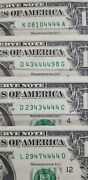 Lucky 4and039s Lot Of 4 1 Bill Circulated Notes Fancy Serial Number Face Value 4