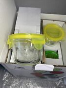 Glass Baby Food Storage Containers | 12 Set | 4 Oz Plus Silicone Bib 2 Spoons