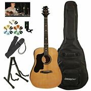 Sawtooth Beginner's Acoustic Guitar Pack Left Handed Natural With Custom Blac...