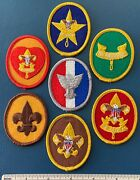 7 Vintage 1970s Boy Scout Rank Badge Patches First Second Class Star Life Eagle+
