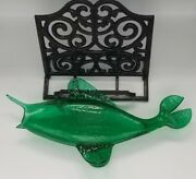 Winslow Anderson Fish Vase - Emerald Green Crackle Glass, Mid Century