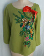 Ugly Christmas Sweater Shiny Ornaments Red Ribbon Vintage Christopher Radko S
