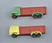 Pez Trucks One Yellow Cab One Green Cab - Red Stems - Small Dispensers
