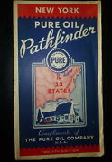 1935 New York Road Map Pure Oil Gas Oil Fields Refineries Pipe Lines Ships